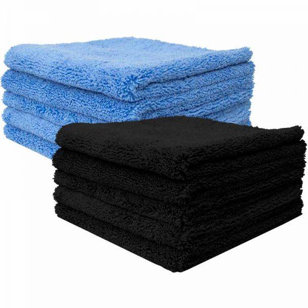 Dikke microvezeldoek zwart en blauw 400GSM